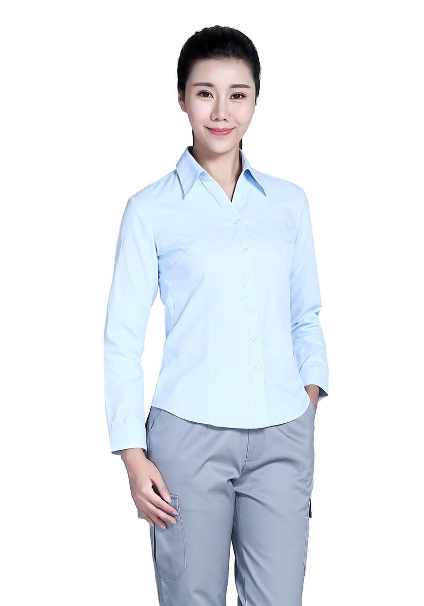 衬衫浅蓝女60棉80双织浅蓝长袖衬衫