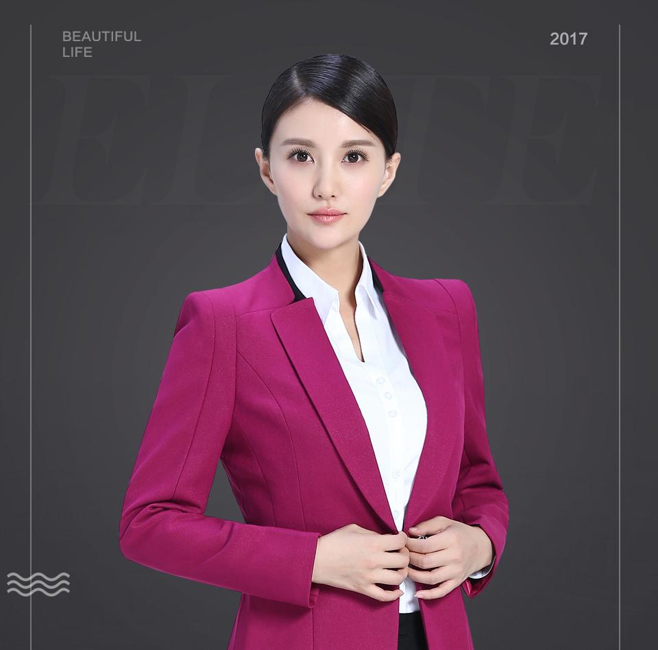 玫红色商务女装FX11