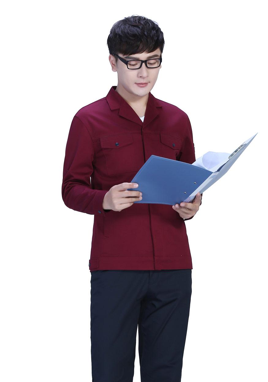 新款黄色上衣+藏蓝裤春秋工作服FY8001